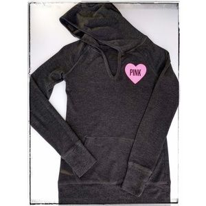 Pink Victoria's Secret Thermal Hoodie Gray Small